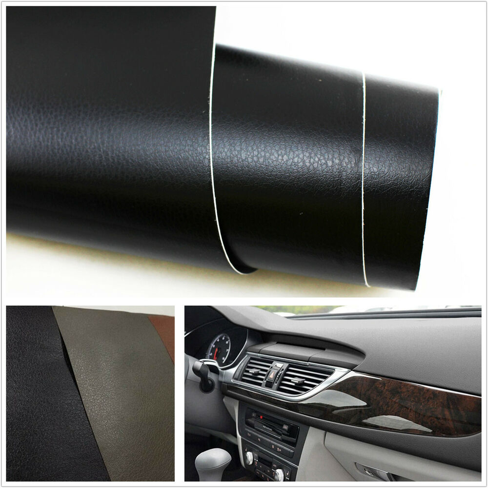 3d black leather texture sheet film vinyl sticker car interior console dashboard ebay. Black Bedroom Furniture Sets. Home Design Ideas