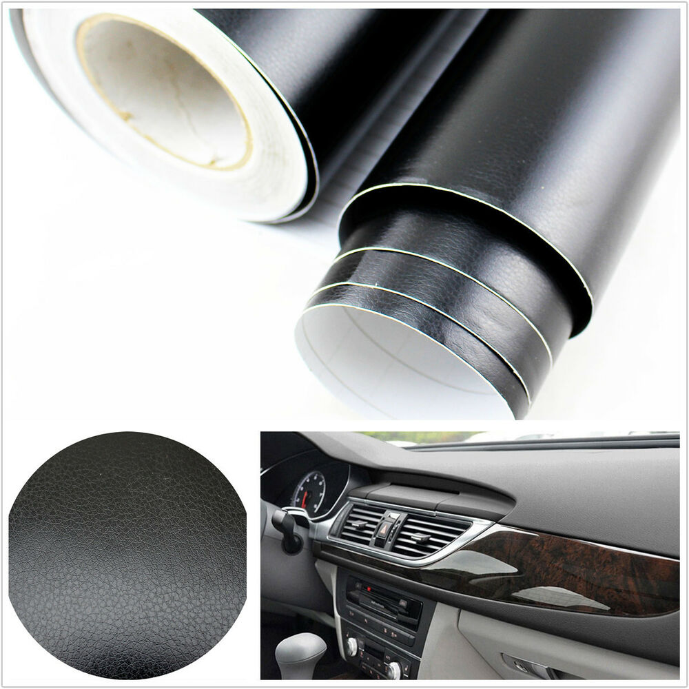 3d black leather texture sheet film vinyl sticker car interior console c pillar ebay. Black Bedroom Furniture Sets. Home Design Ideas