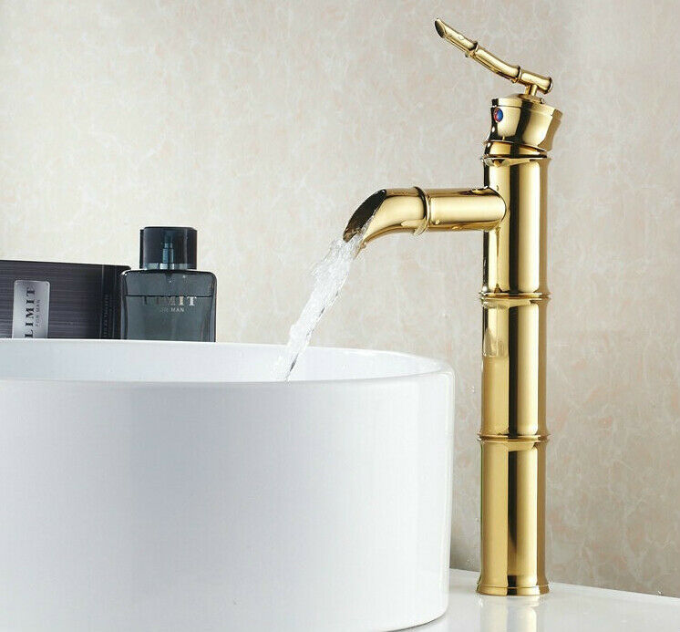 Waterfall gold finish brass bathroom sink vessel faucet for Gold bathroom sink taps