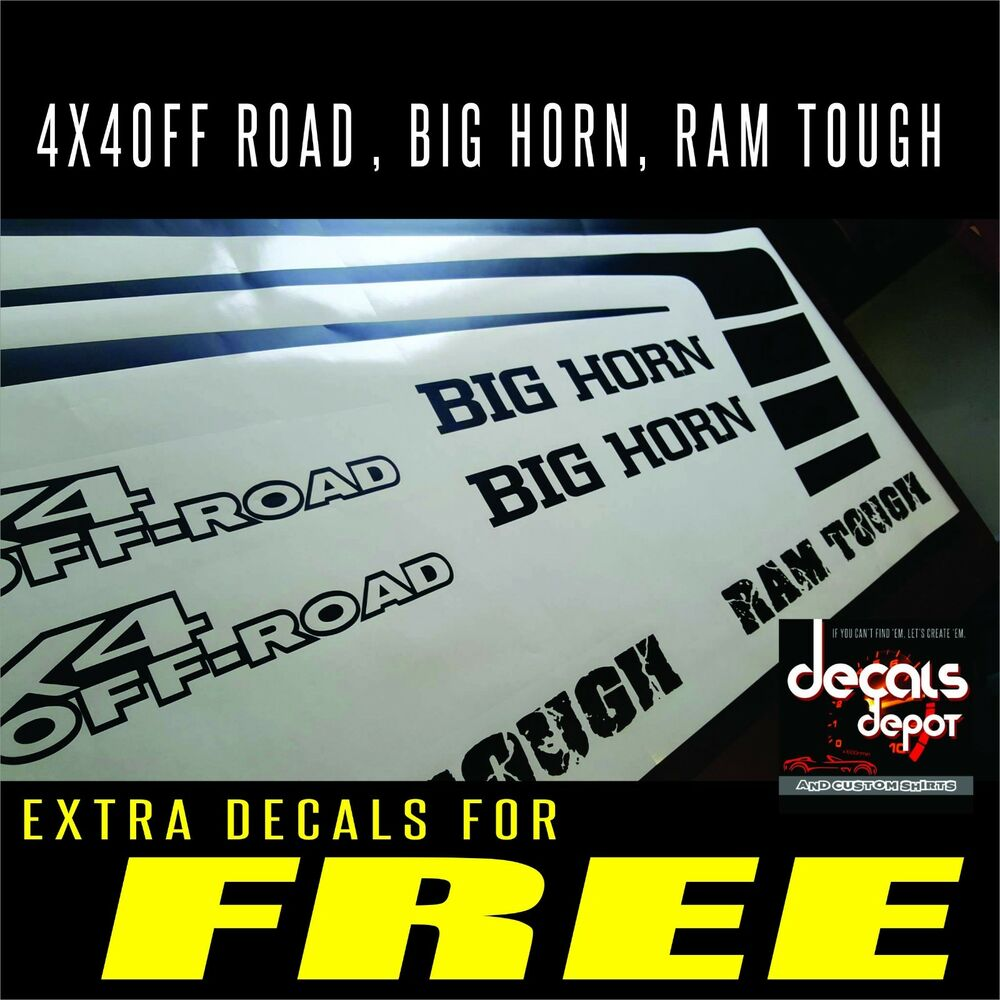 Any Dodge Ram Graphics Hood Decal Emblems Plus Bed Stripes