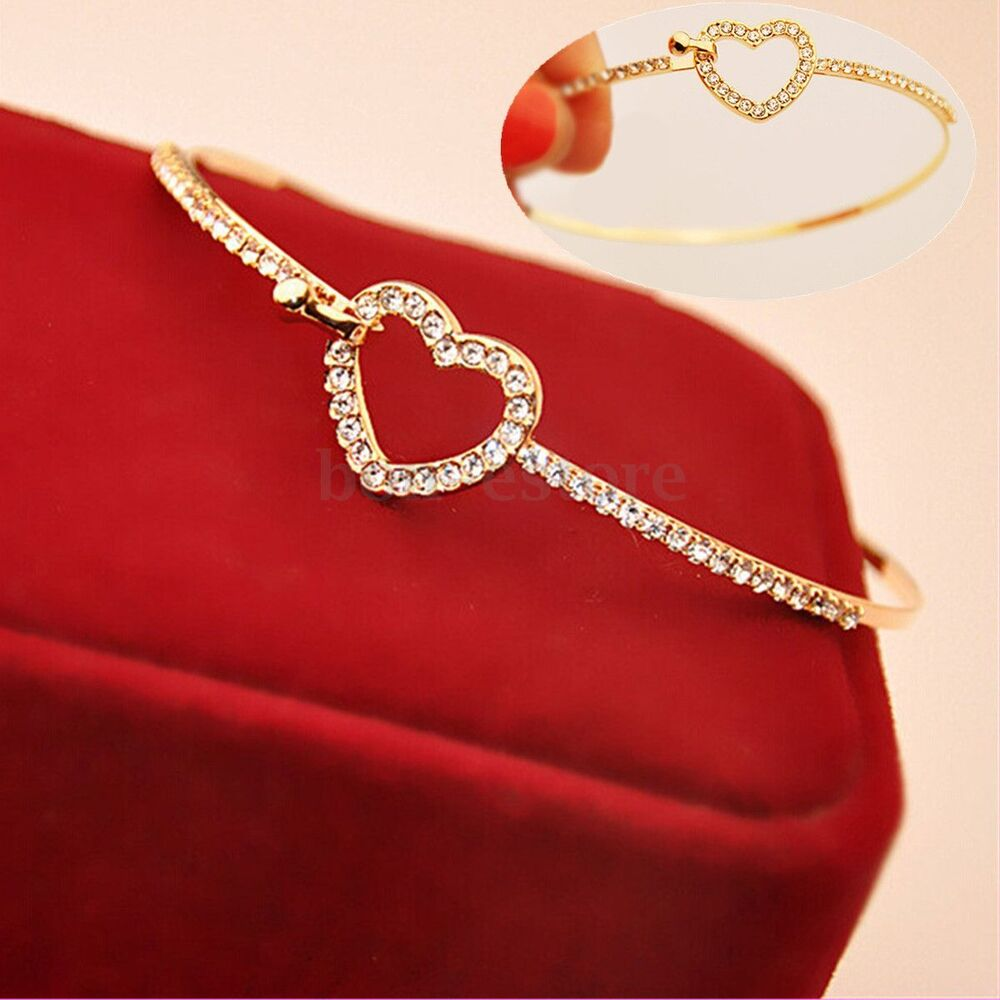 Cuff Bangle Bracelet: Women Gold Plated Heart Rhinestone Bracelet Lady Bangle