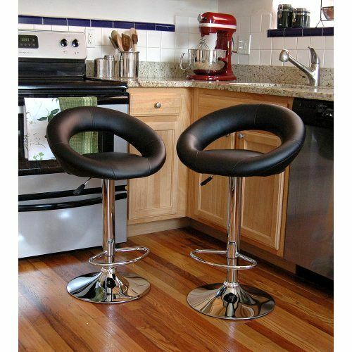 Bar Stool Set Of 2 Adjustable Height Seat Chair Swivel
