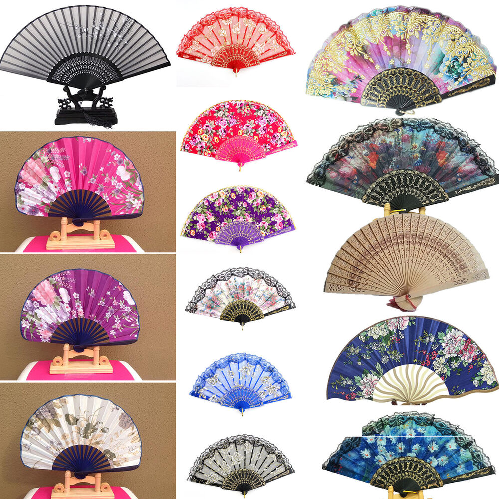 Newly Flower Floral Fabric Lace Folding Hand Wedding Dancing Party Decor Fan