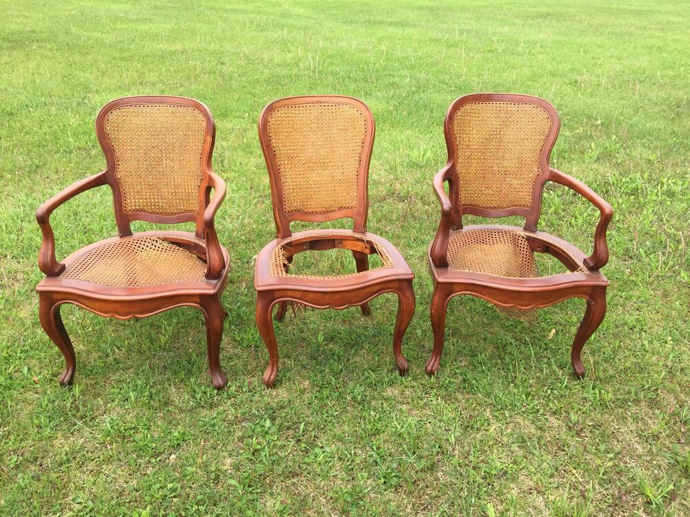 Three Carved Wood Caned Chairs Victorian Antique Some