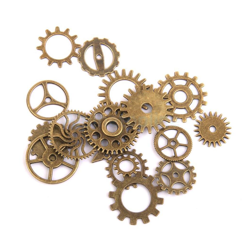 17x steampunk charms gears clock parts craft gear pendant for Clock mechanisms for craft projects