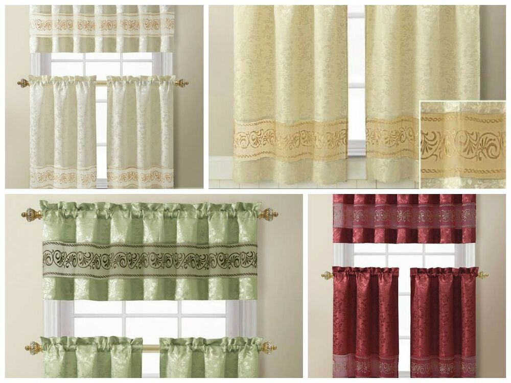 3 Piece Jacquard Kitchen Window Curtain Set With
