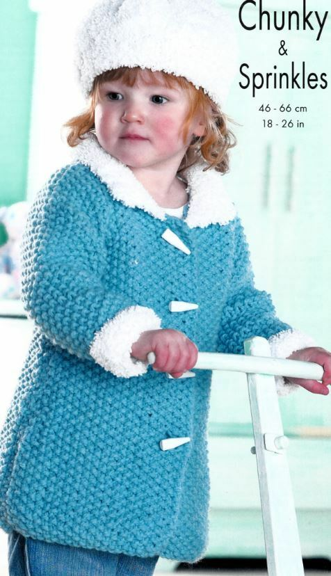 Knitting Patterns For Jackets Chunky : Knitting Pattern Childrens Chunky Coat Jacket Hat & Cape Shawl eBay