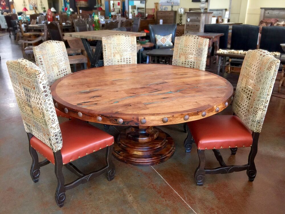 Rustic Solid Mesquite Wood Round Dining Table With