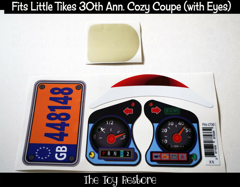 Replacement decals fits 30th anniversay little tikes cozy for Little tikes 2 in 1 buildin to learn motor workshop