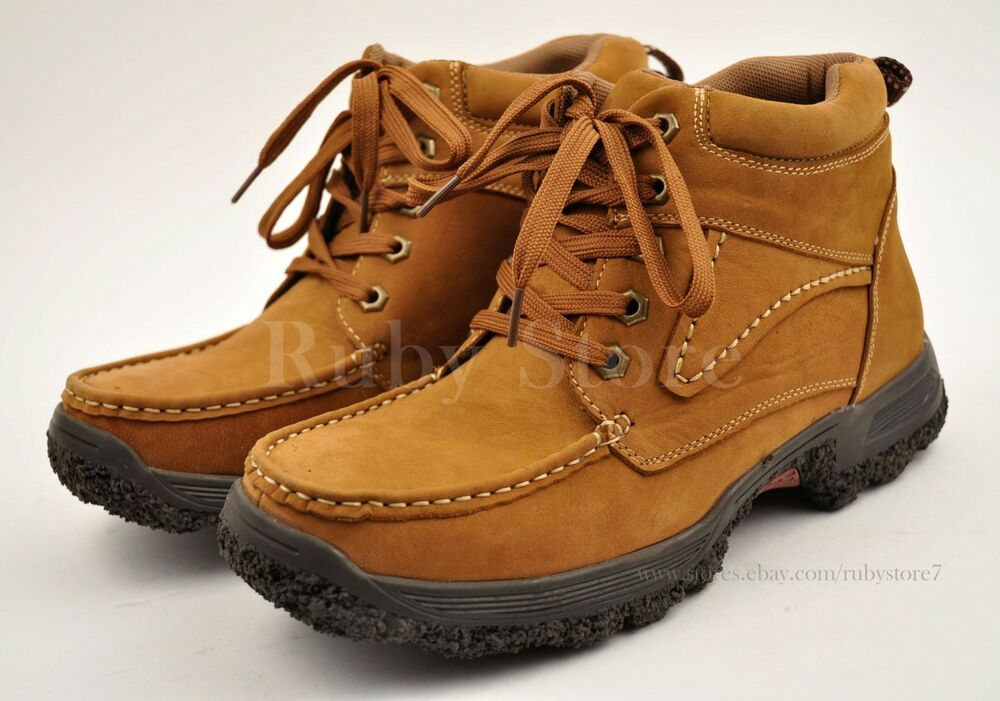Men S Tan Hiking Winter Work Boots Shoes Genuine Leather