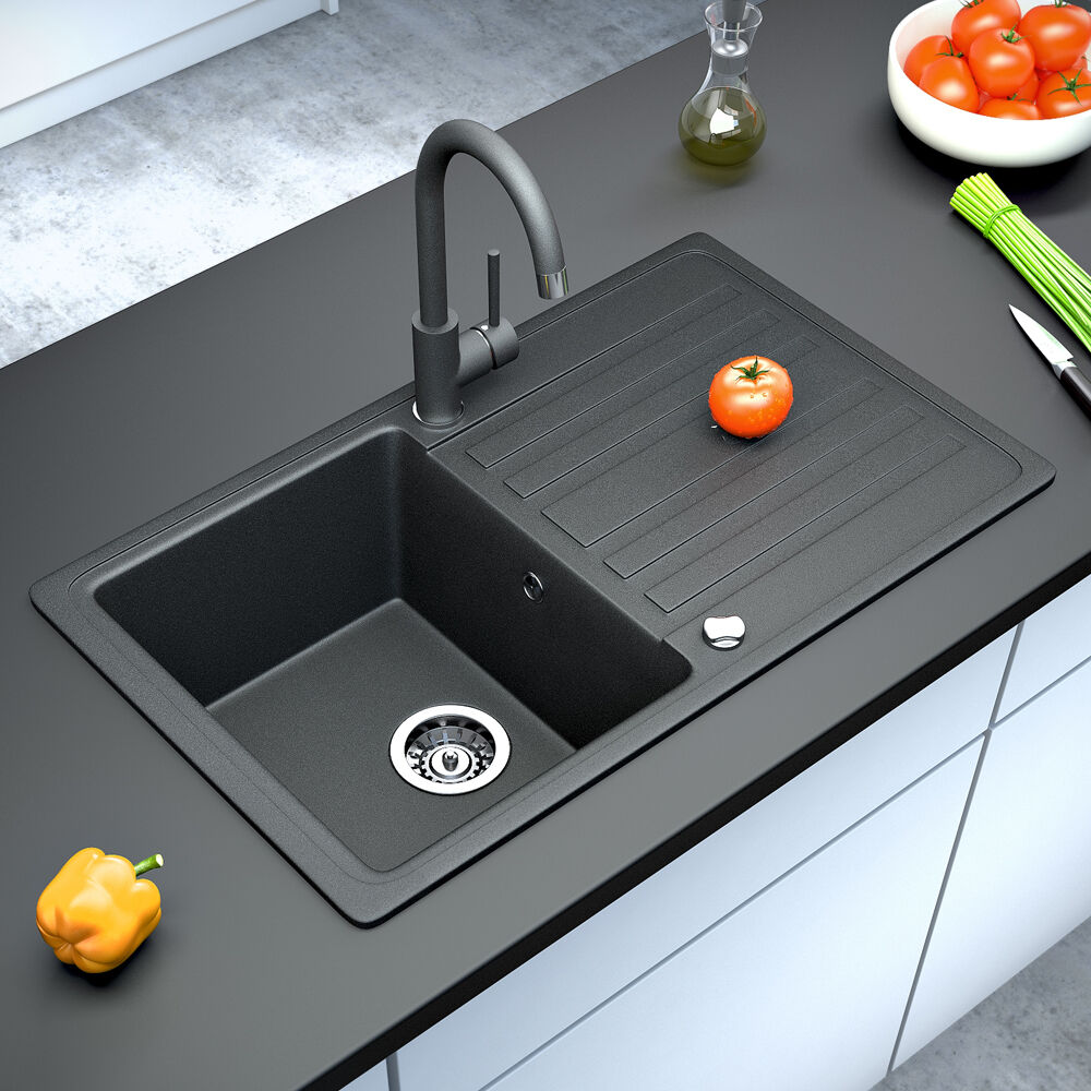 Dark Kitchen Sinks: BERGSTROEM Granite Kitchen Built-in Sink Reversible 765x460 Black
