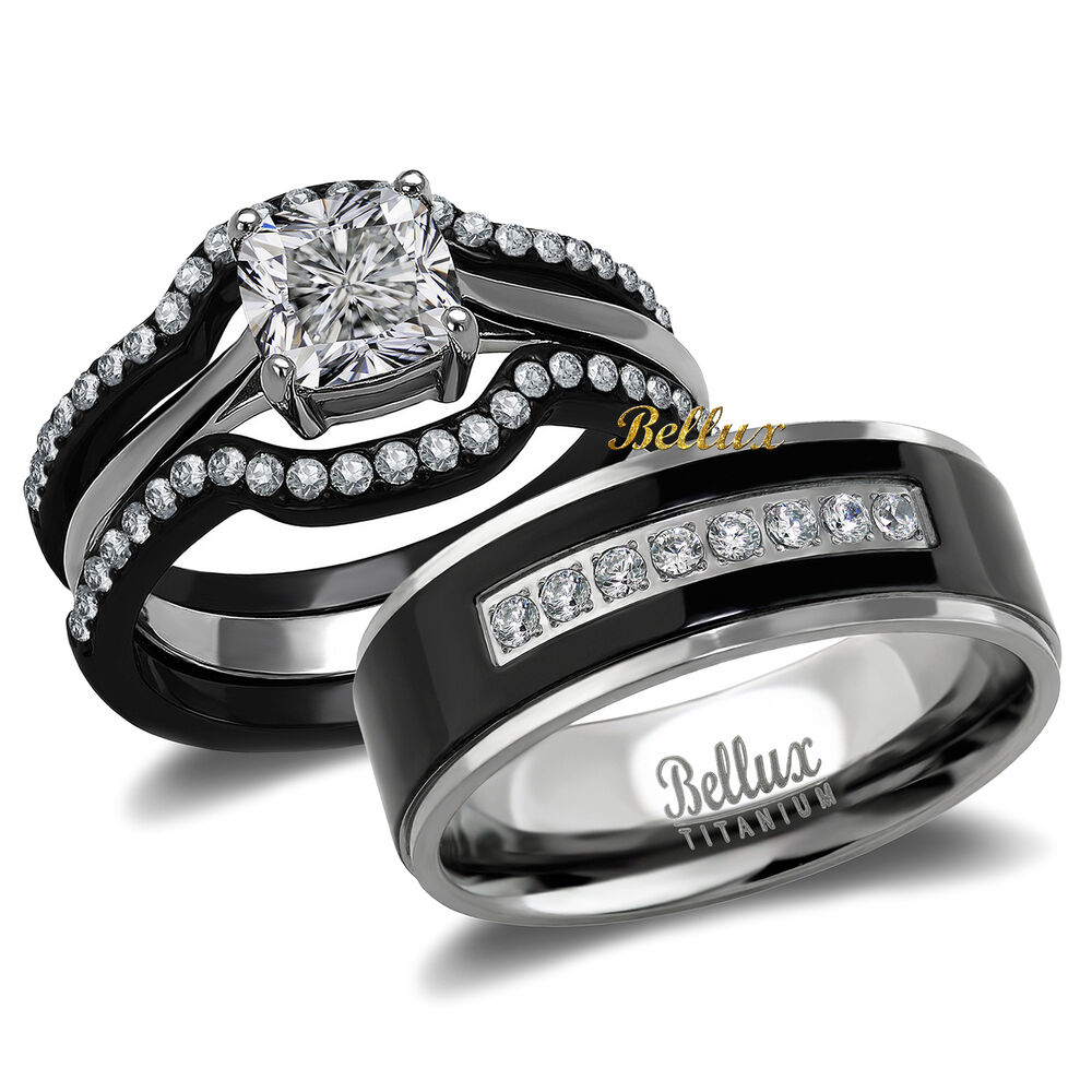 black wedding rings his and hers his and hers titanium stainless steel cz bridal matching 1887