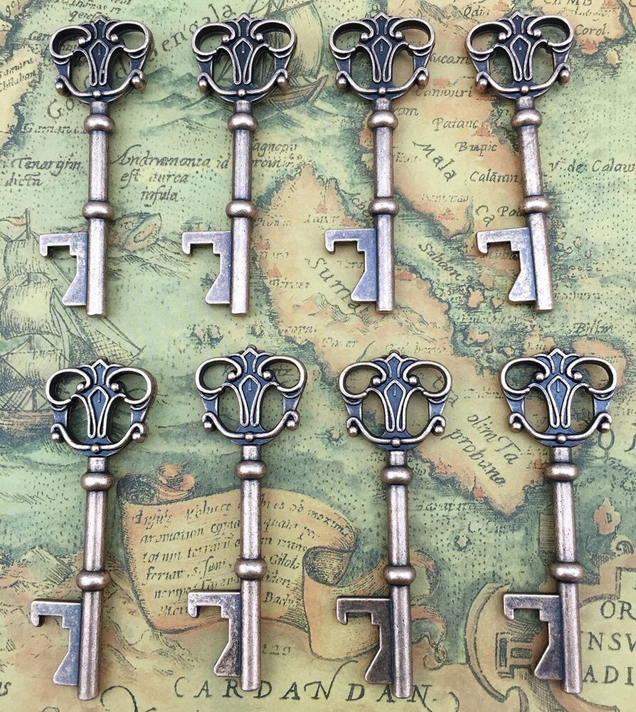 100x vintage skeleton key bottle opener bridal shower wedding favor decoration ebay. Black Bedroom Furniture Sets. Home Design Ideas
