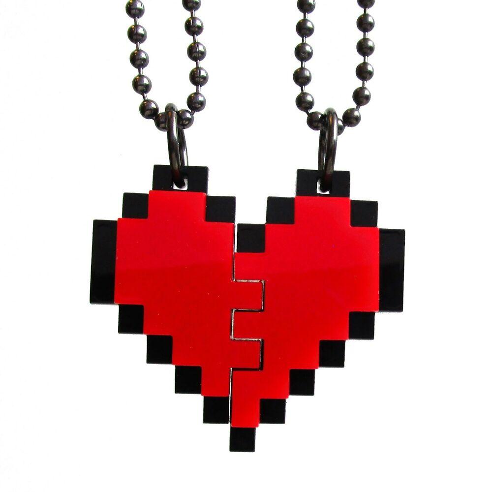 BFF Heart Necklaces Friendship Pixel Heart Set Of 2