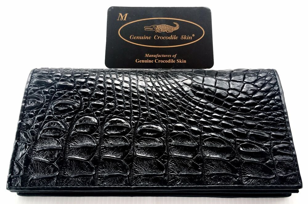 Wallet Black Checkbook Genuine Real Crocodile Alligator