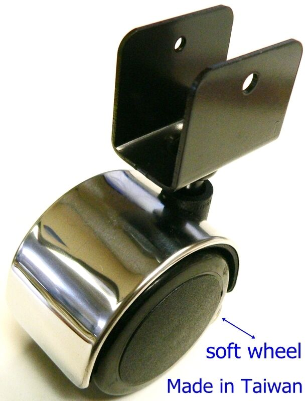 oajen 2 50mm chrome chair caster soft wheel pack of 4 1 u brack