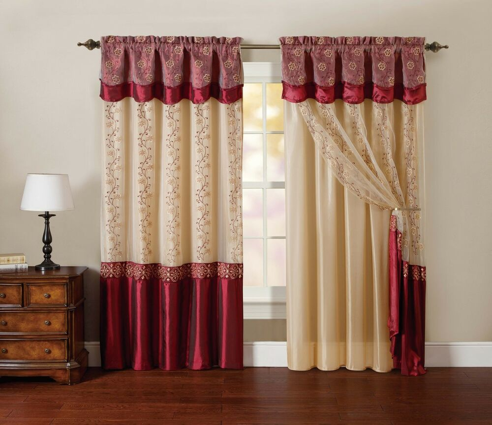 One Piece Window Curtain Drapery Sheer Panel Burgundy Attached Backing Ebay