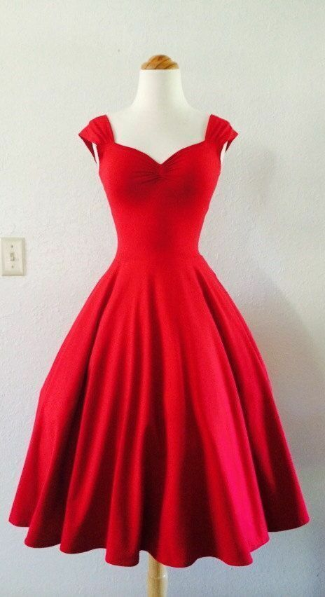 Vintage 1950s tea length red party prom dresses cocktail for Red tea length wedding dress