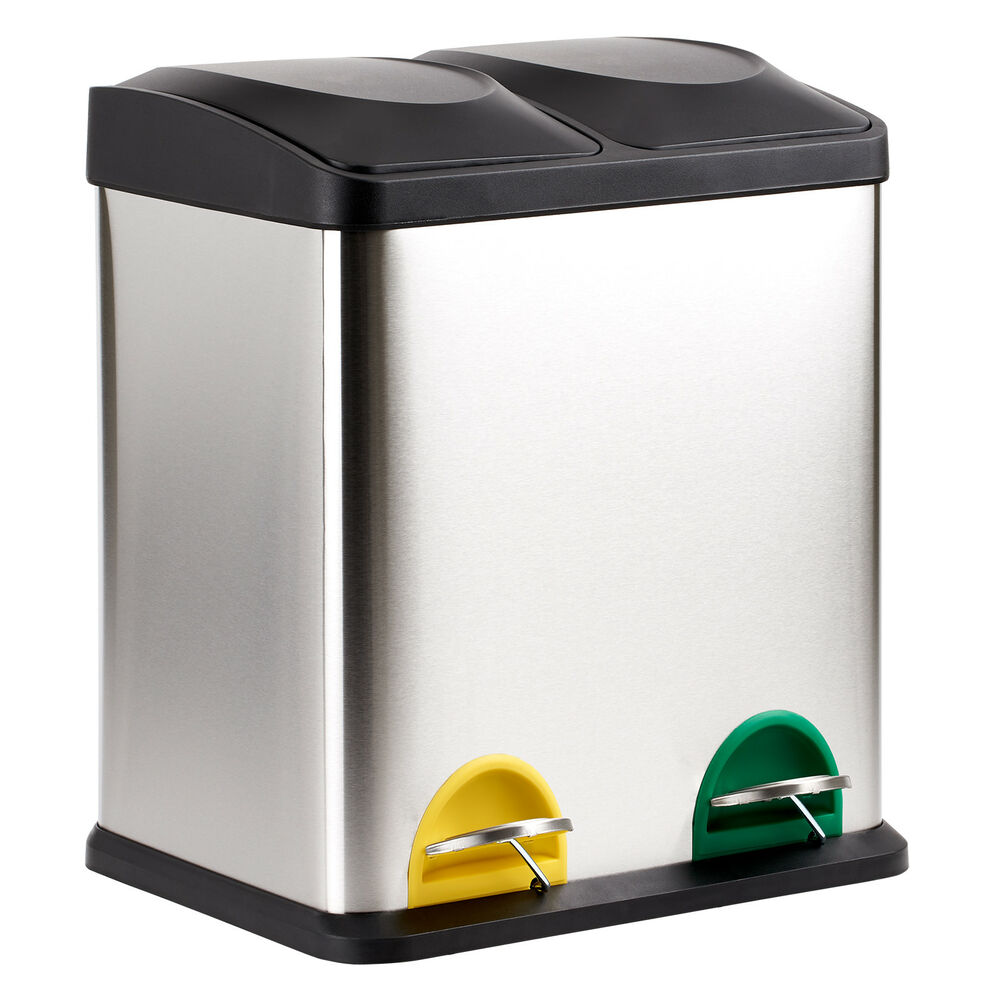 Kitchen Waste Bins: 30 LITRE DOUBLE RECYCLING PEDAL BIN TWIN COMPARTMENT