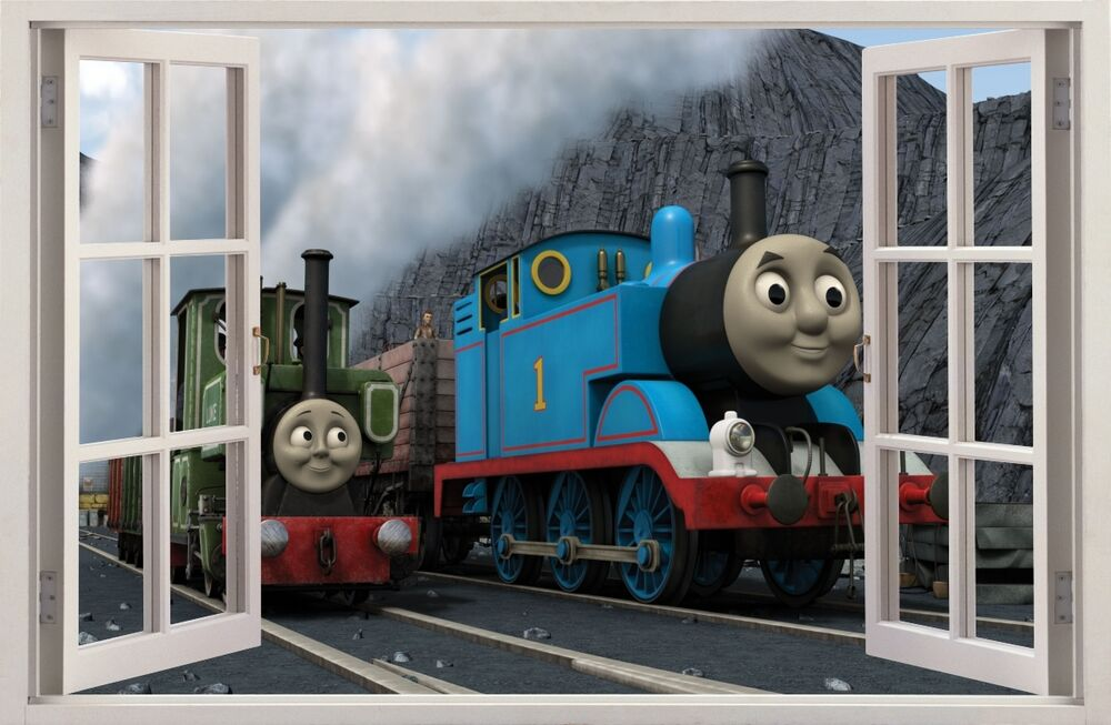 3d effect window wall stickers train thomas sticker vinyl. Black Bedroom Furniture Sets. Home Design Ideas