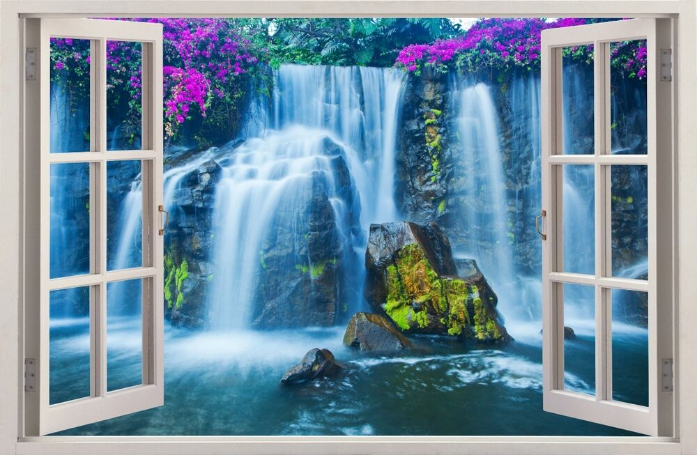3d effect window wall stickers waterfall sticker art vinyl decal decor mural 30 ebay. Black Bedroom Furniture Sets. Home Design Ideas