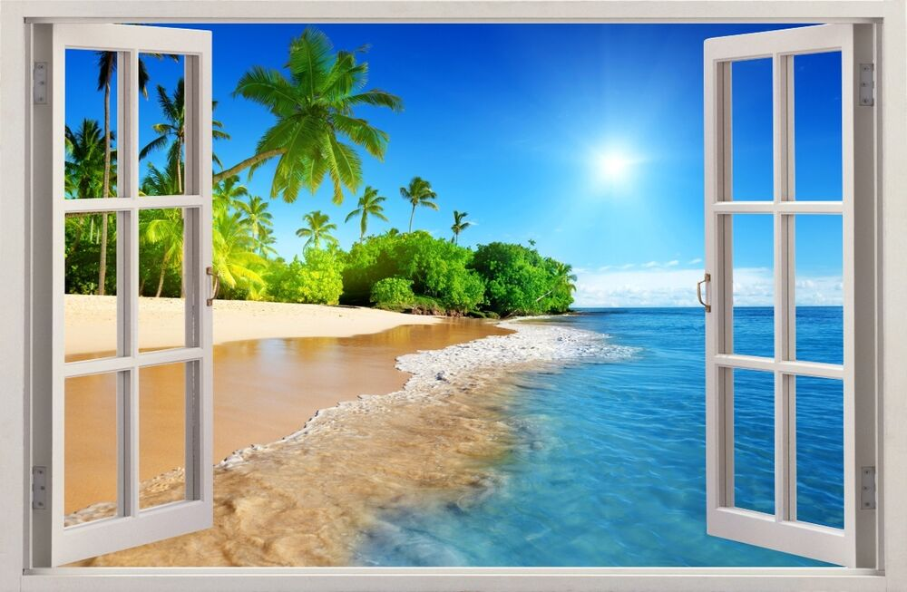 3d effect window wall stickers palm beach sun sticker for Beach wall mural sticker