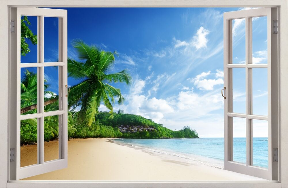 3d effect window wall stickers palm beach sticker vinyl for Beach wall mural sticker