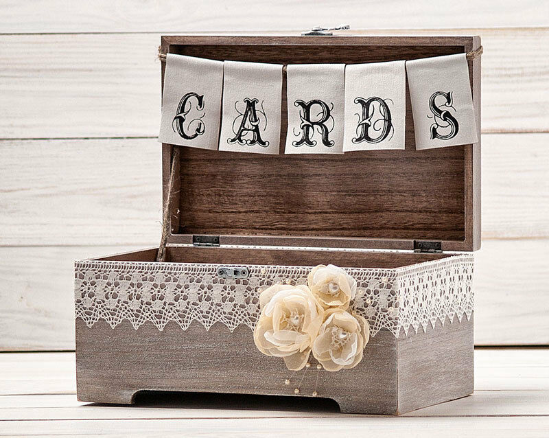Wedding Rustic Card Box Holder with Cards Banner eBay