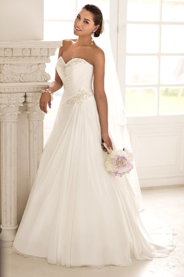 Sweetheart a line wedding dress bridal gown bridesmaid for Ebay wedding dresses size 18 uk