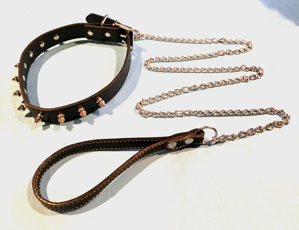 STUDDED / SPIKED LEATHER DOG COLLAR with CHAIN LEAD ...
