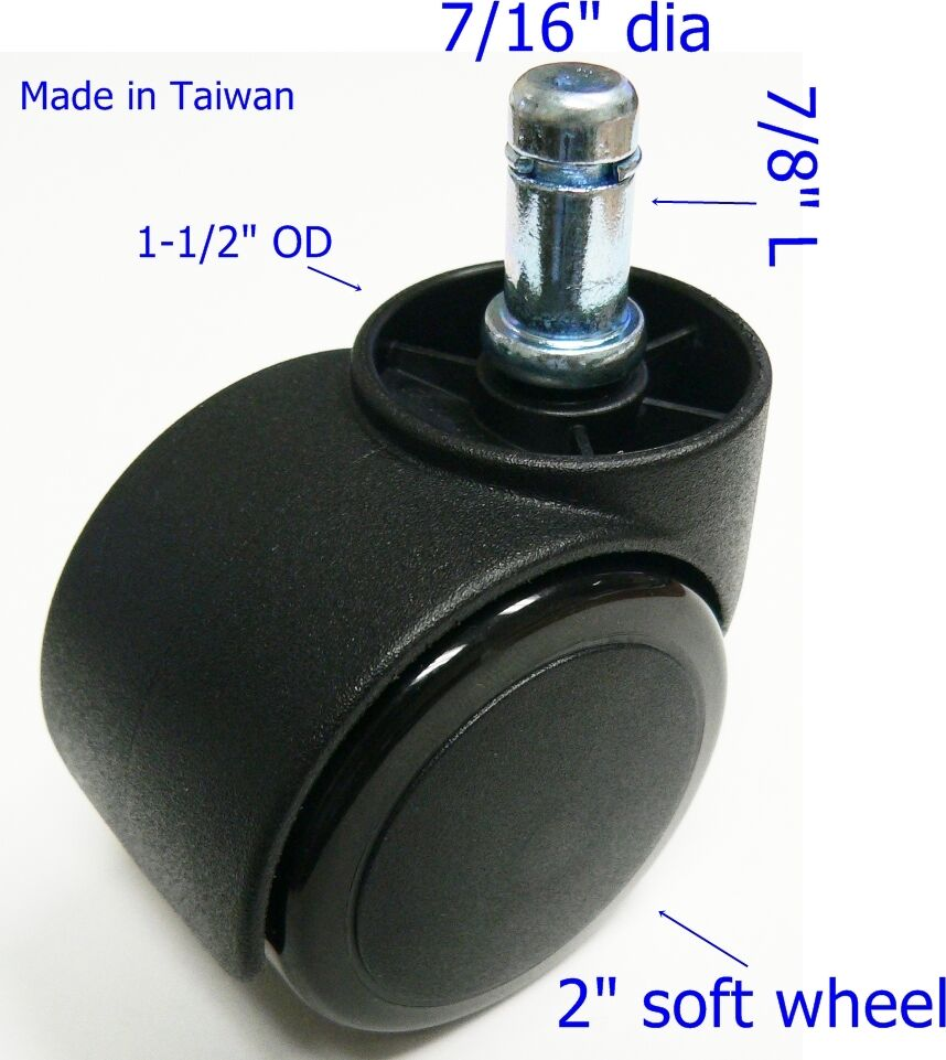 Oajen 2 soft wheel chair caster hardwood floor 7 16 x for 2 furniture casters