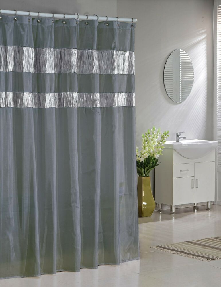 Silver Gray Faux Silk Fabric Shower Curtain: Shimmering