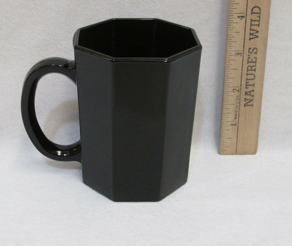 Black Octagon 8 Sided Glass Coffee Mug Cup Arcoroc France