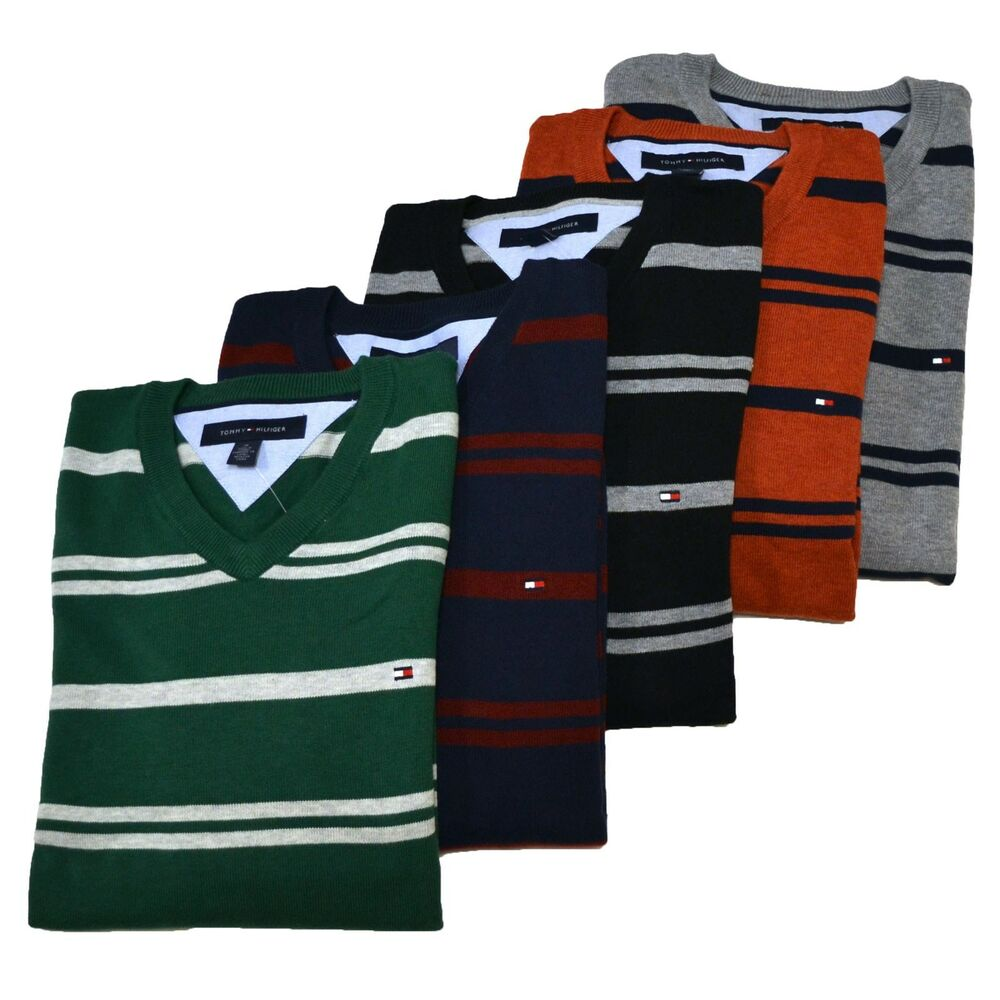 tommy hilfiger sweater mens striped v neck long sleeve pullover nwt th flag logo ebay. Black Bedroom Furniture Sets. Home Design Ideas