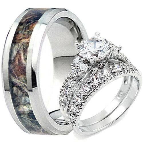 Titanium Oak Tree Camouflage Mens Mossy Camo Band Her Sterling Silver Ring Set