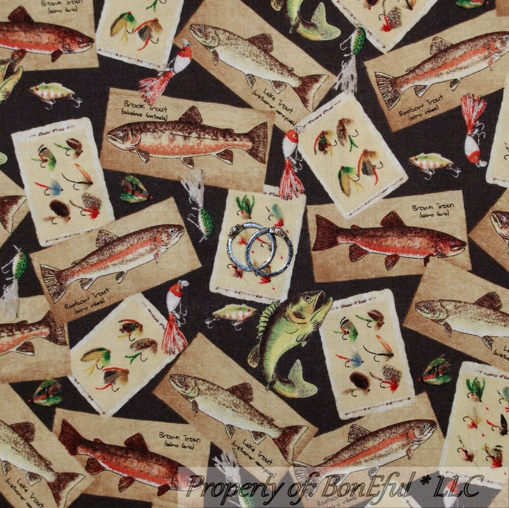 Boneful fabric fq cotton quilt brown lake trout fly fish for Fishing themed fabric