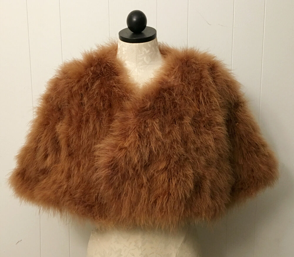 Ivory Blush Pink Real Ostrich Feather Furry Fur Coat Cape