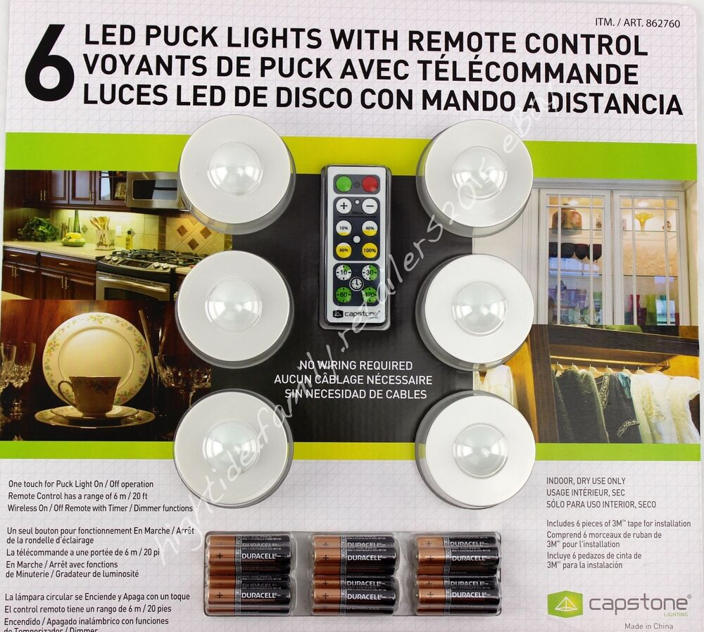 capstone 6 led puck lights w remote control plus batteries wireless. Black Bedroom Furniture Sets. Home Design Ideas
