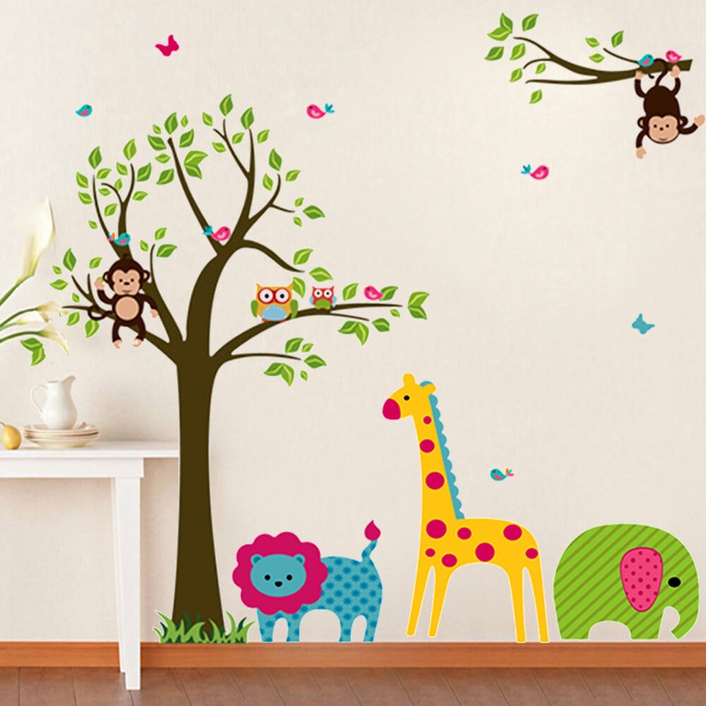 Animals tree money wall sticker decals vinyl mural kids for Baby nursery tree mural
