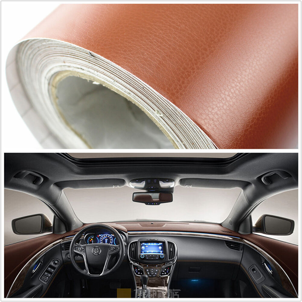 3d brown leather texture sheet film car suv interior trim decorative diy sticker ebay. Black Bedroom Furniture Sets. Home Design Ideas