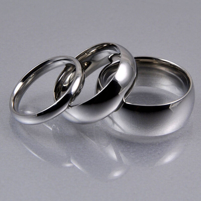 Mens women silver stainless steel classic traditional for Traditional wedding ring