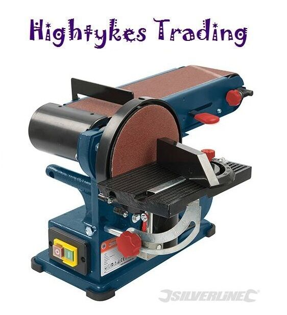 Belt sander bench sander 4 belts and 6 disc linisher 350w sand sanding 972660 ebay Bench belt sander