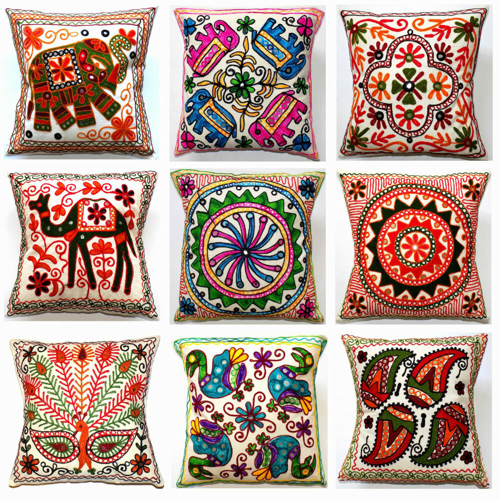 Cushion cover quot cm indian multi colour embroidered