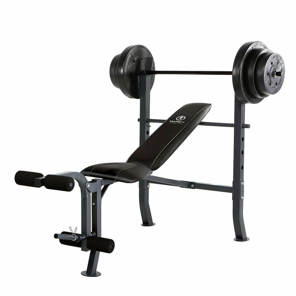 Marcy Standard Bench W/ 100 Lb Weight Set Home Gym Workout