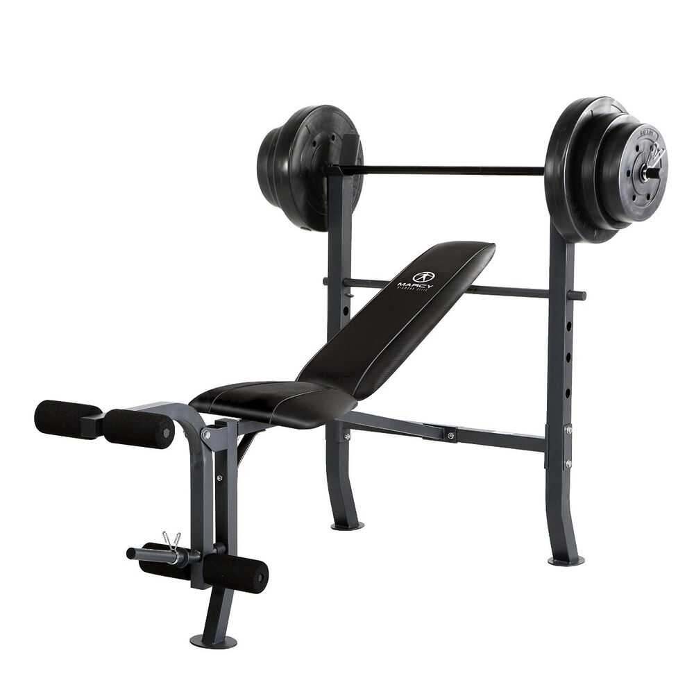 Free Weights On Bench: Marcy Standard Bench W/ 100 Lb Weight Set Home Gym Workout