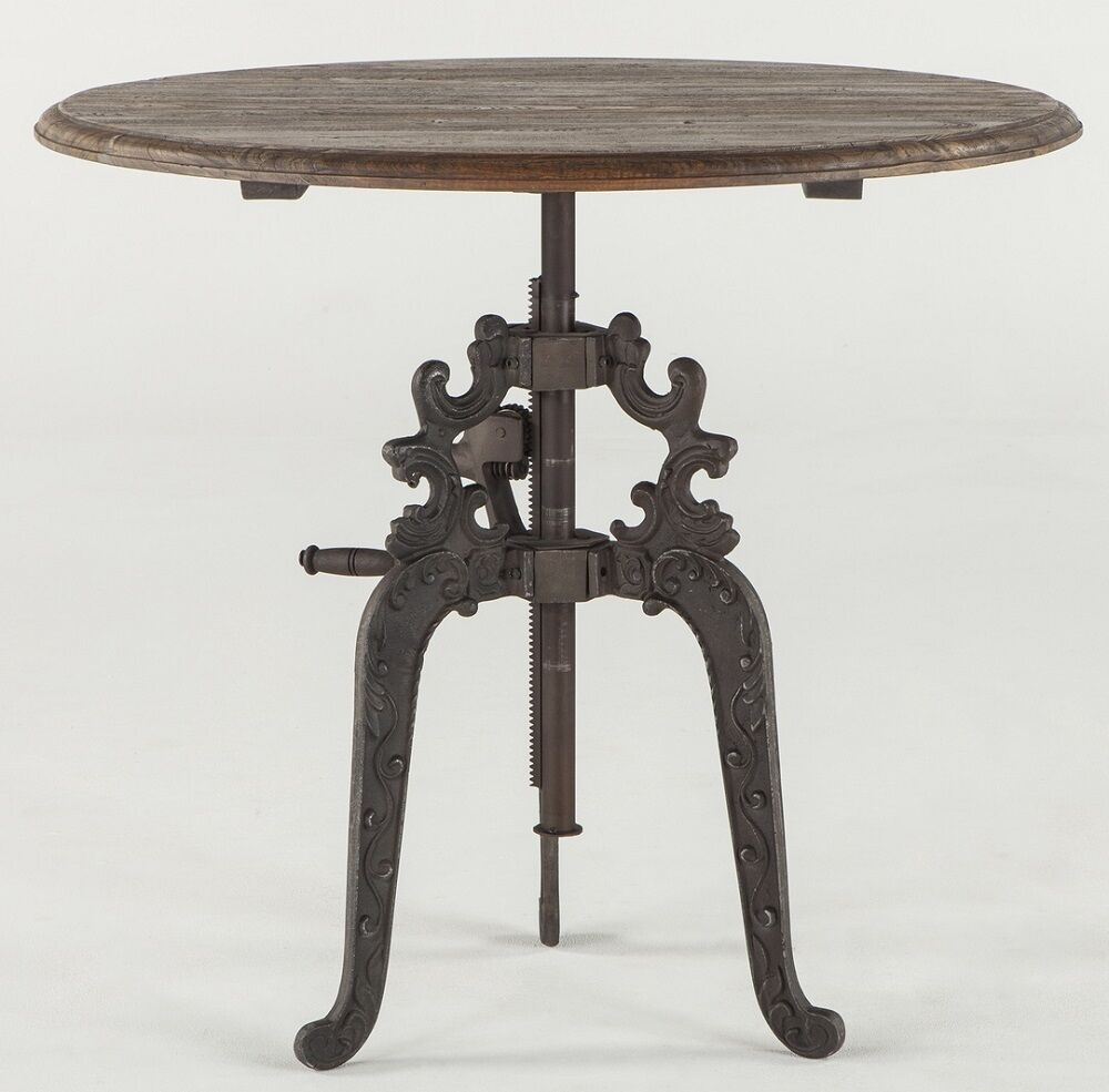"Wood And Metal Uriah Adjustable Accent Table: 40"" Round Crank Bar Table Iron Industrial French Wood Top"
