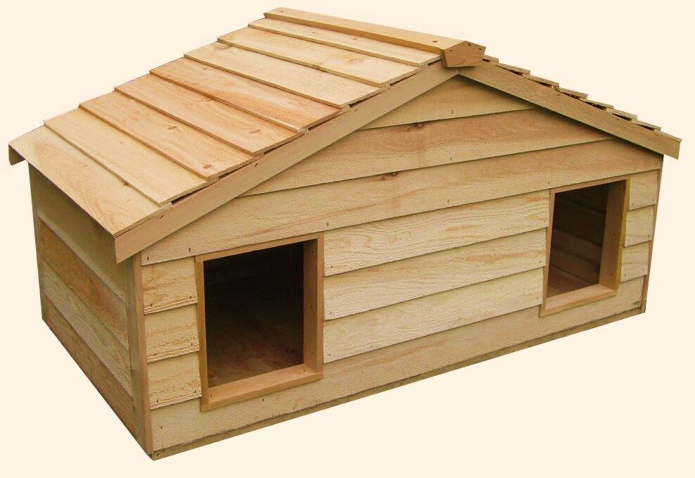 Large duplex insulated cedar cat house small dog house ebay for Insulated outdoor dog house