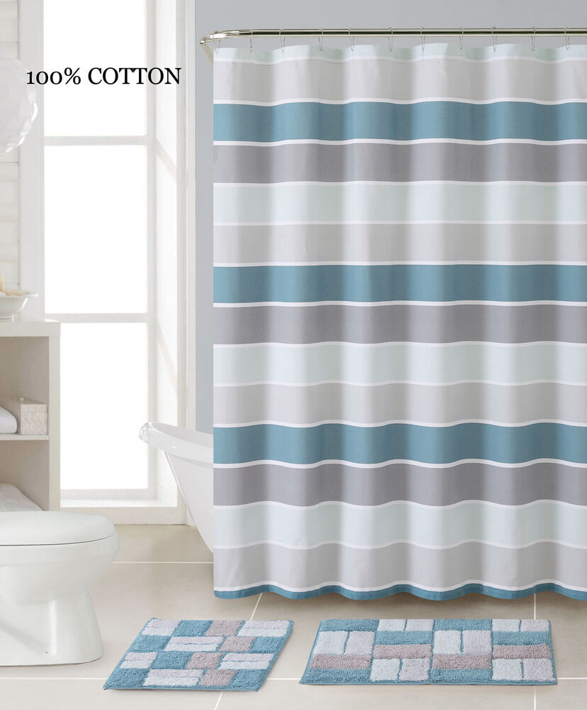 3 pc bath set shower curtain and 2 mats blue silver for Blue and silver bathroom sets
