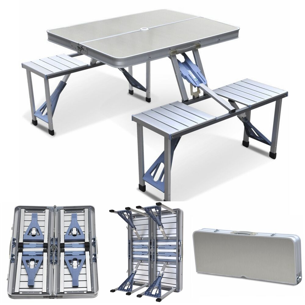 aluminum folding camping picnic table with 4 seats portable set outdoor garden ebay. Black Bedroom Furniture Sets. Home Design Ideas