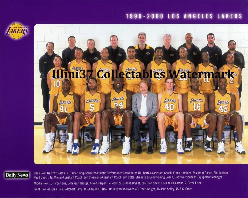 1999-2000 LOS ANGELES LAKERS NBA CHAMPIONS 8X10 TEAM PHOTO ...